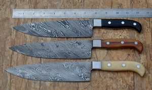 RK 61 -Classis Style Damascus Chef Knives - Stainless Steel Bolsters