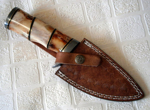 BC 59-40 Custom Handmade Damascus 09 Inches Steel Knife- Stunning Stained Bone Handles