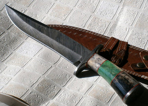 REG 19-80 Damascus Steel Bowie Knife – Stunning Stained Bone Handle