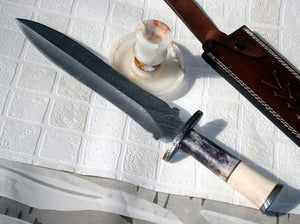 RAM 18-180 Custom Damascus Steel 15.00 Inches Dagger Knife - Gorgeous Exotic Handle