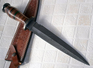RAM 07-180 Custom Damascus Steel 15.00 Inches Dagger Knife - Gorgeous Leather Handle