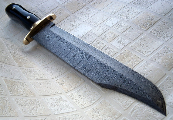REG-412 17.00 Inches Massive Damascus Steel Bowie Knife – Buffalo Horn Handle