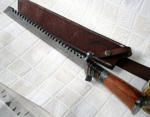 REG-324, Handmade Damascus Steel 17 Inches Hunting Knife - Beautiful Stained Bone and Marindi Wood Handle