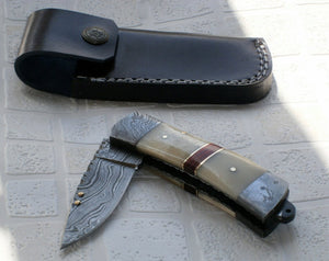 RP-51 D Custom Handmade Damascus Steel Folding Knife- Camel Bone Handle Fixed with Brass Pins and Red Fiber Spacers