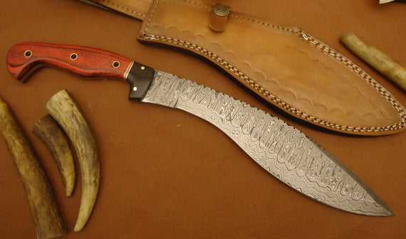 REG-0102, Custom Handmade Damascus Steel 14 Inches Kukri Knife - Solid Colored Pakka Wood Handle