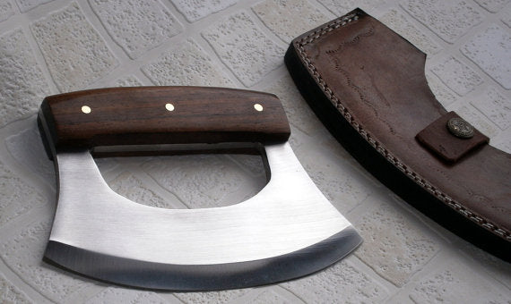 RK- Handmade 440C Stainless Steel Ulu kitchen Knife - Walnut Wood Handle