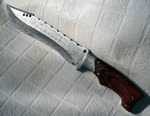 REG-151-180, Handmade Damascus Steel 15.00 Inches Bowie Knife – Colored Wood Handle