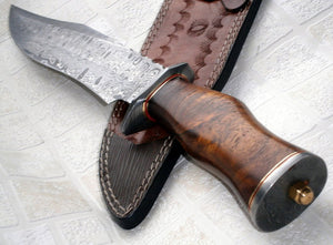 REG 09-80 B  Handmade Damascus Steel 14.00 Inches  Bowie  Knife - Walnut Wood Handle