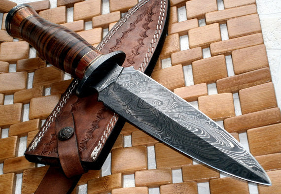 RAM-0592 Damascus Steel Dagger Knife – Full Size Leather Handle