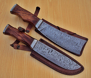 REG 1318 B Handmade Damascus Steel Knife Set - Stunning Wide Blade with Walnut Wood Handle