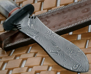 RAM-21  Damascus Dagger Knife – Stained Colored Bone Handle