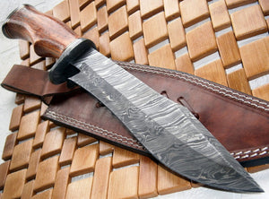 REG 215- Handmade Damascus Steel 14.00 Inches Bowie Knife - Exotic Wood Handle