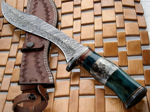 REG-119-810, Handmade Damascus Steel 14.50 Inches  Bowie Knife - Stained Bone Handle