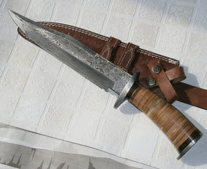 REG-13-80, Handmade Damascus Steel Hunting Knife - Beautiful Leather Handle
