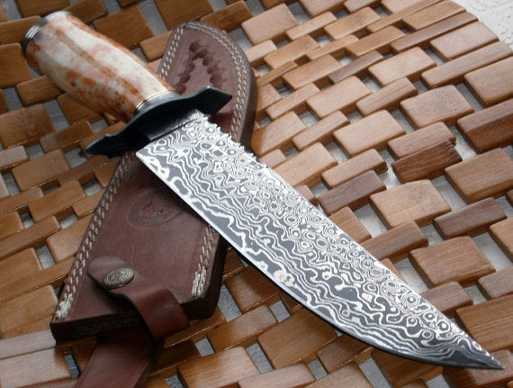REG-333 Handmade Damascus Steel Bowie Knife - Colored Bone Handle