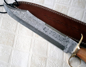 REG-H009 Custom Handmade Damascus Steel 14 Inches Hunting Bowie Knife