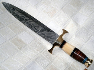 RAM-227, Handmade Damascus Steel Dagger Knife – Stained Bone and Colored Wood Handle