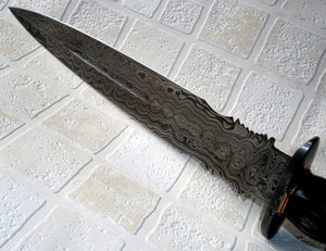 RAM-02993 Damascus Steel 15 Inches Dagger Knife – Stunning Colored Wood Handle