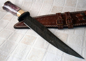 REG-11-80, Handmade Damascus Steel 15 Inches Hunting Knife - Stained Bone Handle