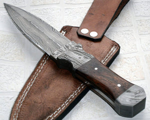 BC-T-21 Handmade Damascus Steel 09.00 Inches Dagger Knife - Rose Wood handle