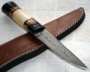 BC- T- 023 Custom Handmade Damascus Steel Knife- Stunning, Unique Design