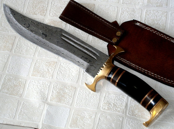 REG-H011 Custom Handmade Damascus Steel 15 Inches Hunting Bowie Knife