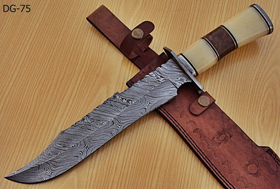 REG- DG-75 Damascus Steel 15.00 Inches Bowie Knife – Walnut Wood/Bone Handle