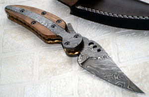 FN-41 Custom Handmade Damascus Steel Folding Knife- Stunning Piece of Art