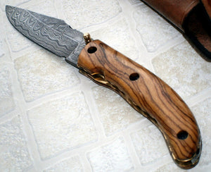 FN-43 Custom Handmade Damascus Steel Folding Knife - Classic Piece of Art
