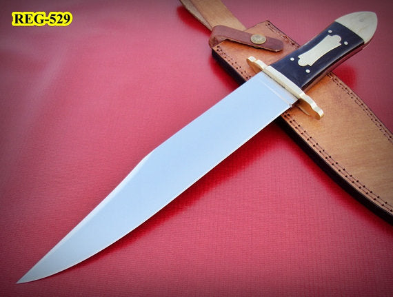 REG-529- Handmade Hi Carbon Polished Steel bowie Knife - Stunning Handle
