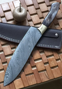 RK 723 Style Damascus Steel Chef Knife – Brass Bolsters & Colored Bone Handle
