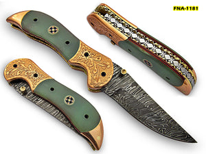 FNA-1181, Custom Handmade Damascus Steel 7.4 Inches Folding Knife - Gorgeous Hand Engraving on Green Micarta and Browns Metal Handle