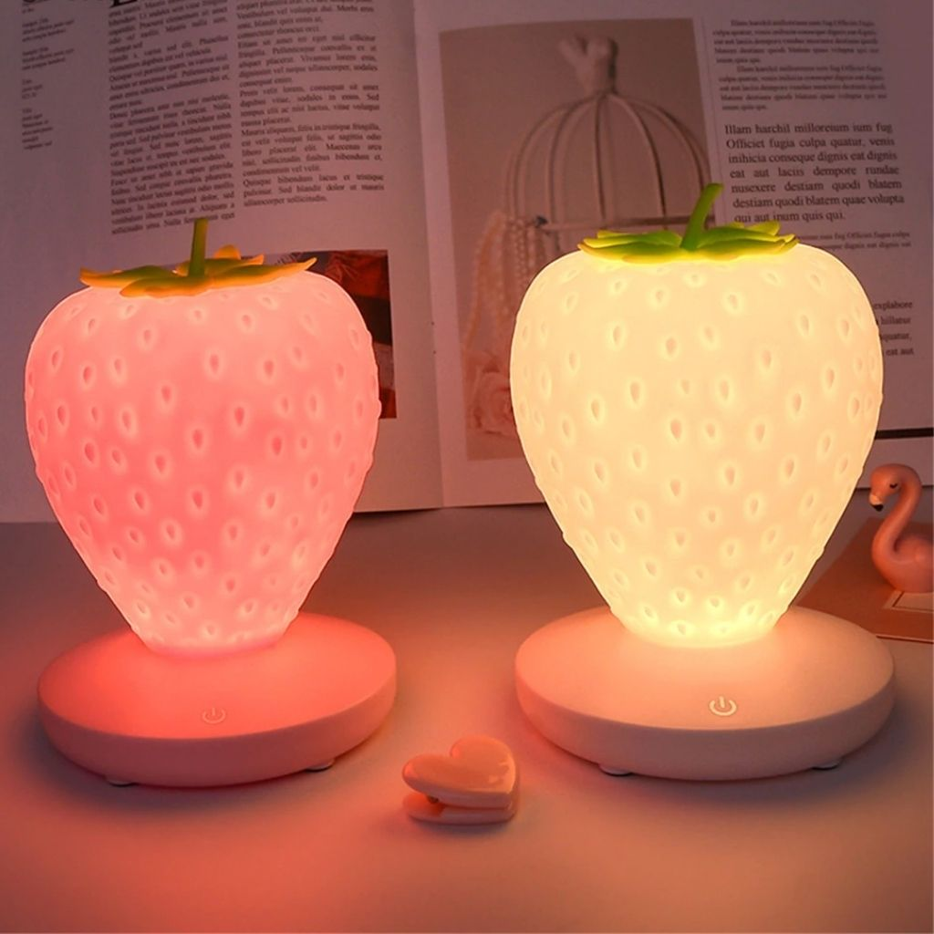 Cute Silicone Strawberry Nightlight