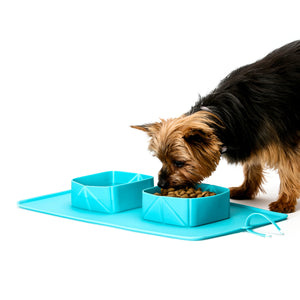 EasyPets Double Roll 'N' Go DOG / CAT Bowl Set. Home or Travel Roll Up Collapsible Bowls. Portable Pet Mat Dog