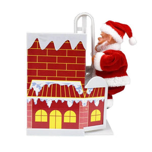 Santa Claus Climbing Chimney Doll Electric Toy With Music Children Kids Christmas Gifts