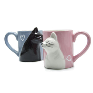 2pcs Luxury Kiss Cat Cups Couple Ceramic Mugs Married Couples