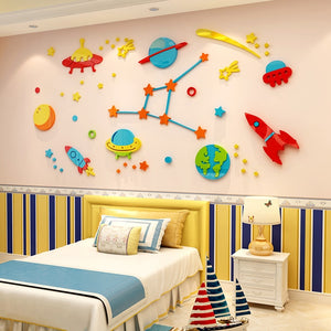 3D Rocket Space Ship Astronaut Creative Wall Sticker For Boy Room Decoration