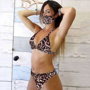 Women's Bikini With Mask Set Swimsuit Two Piece Filled