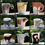 Creative Gift Ceramic Coffee Milk Ttea Mug 3D Animal Shape Hand Painted Deer Giraffe Cow Monkey Dog Cat Camel Elephant Horse Cup