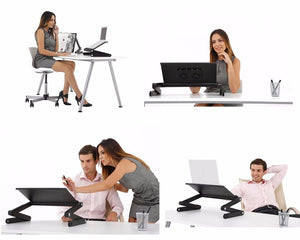 Multi Functional Ergonomic Foldable Laptop Stand Come With USB Cooler and Mouse Pad Portable
