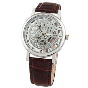 Luxury Fashion Casual Leather Men Skeleton Watch