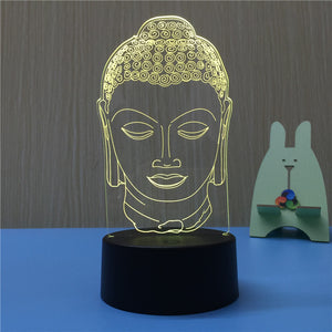 Buddha 3D LED Night Light USB 7 Color Decoration Househould lamp for kids night light as Holidays & Birthdays Gift