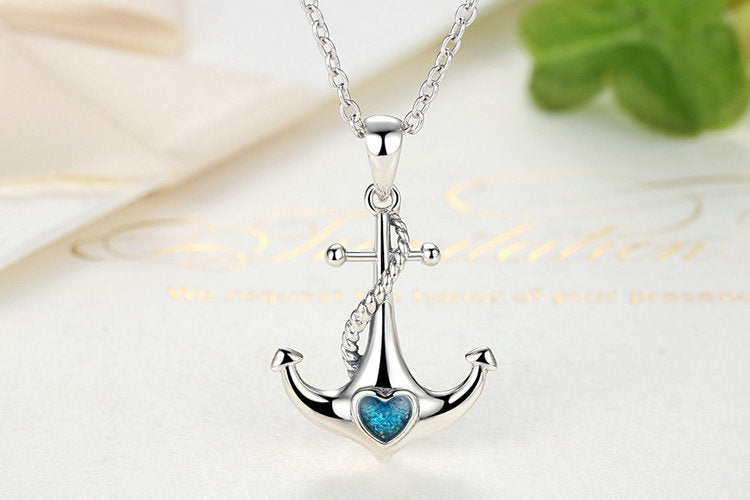 Blue Heart Crystal Anchor Necklace