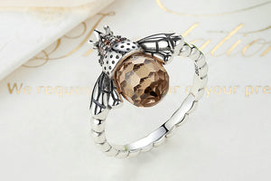 Silver Orange Bee Ring