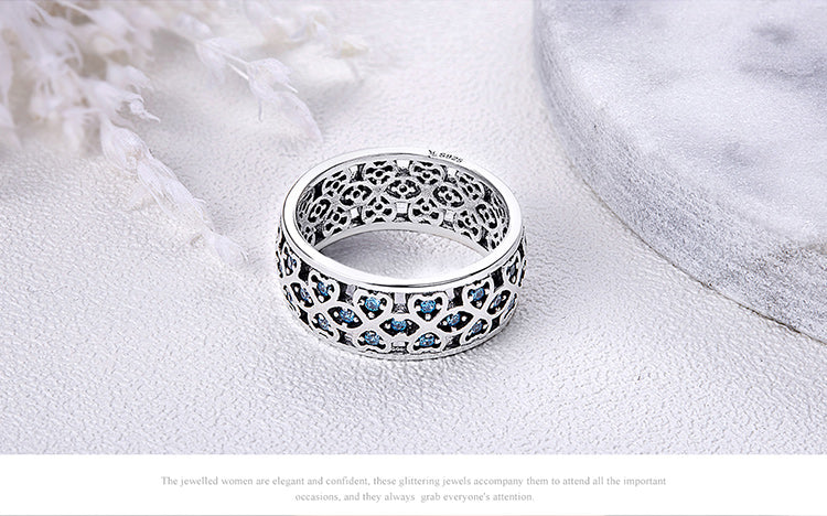 Silver Clover Blue Ring