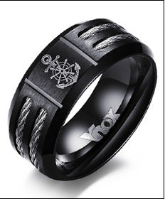 Men's Rudder and Anchor Ring Cool Black Stainless Steel Wia Rings for Men