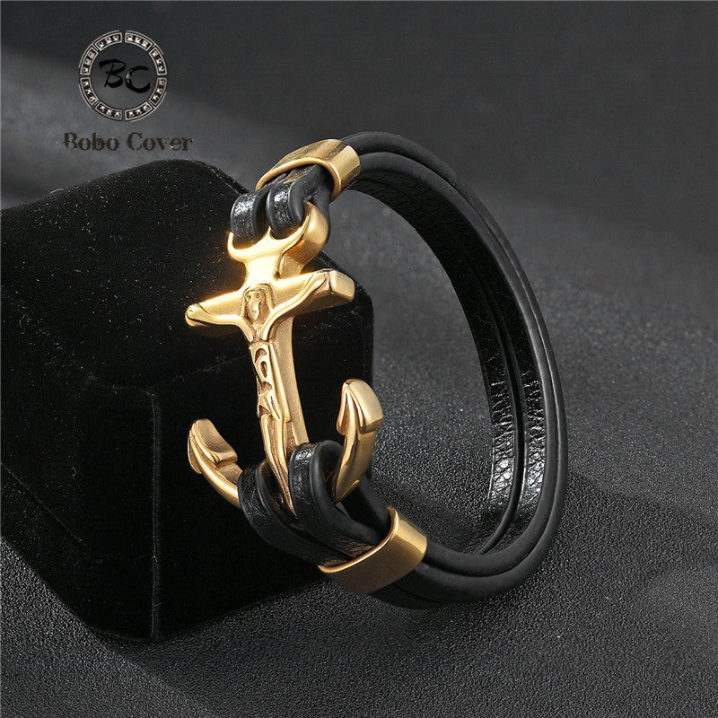Stainless steel Men Charm Anchor bracelets