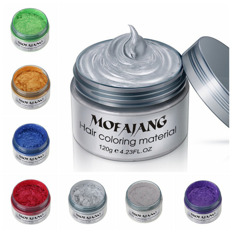 Mofajang 7 colors Disposable hair Color Wax Dye one-time molding paste Sliver Grandma Green Hair Dye Wax Mud Cream