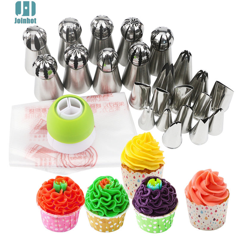 34pcs /set russian nozzles  ball leaves rose tips  and Cake Cream Decorating Disposable