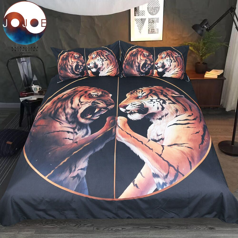Peace Black Bedding Set Two Tigers Duvet Cover With Pillowcase Tiger Bed Set 3-Piece Animal Printed Bedclothes